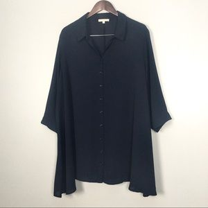 Joan Vass Chiffon Tunic Button Front 3/4 Sleeves